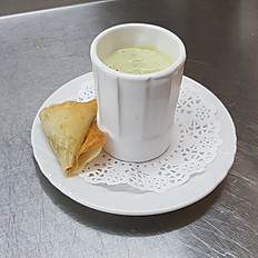 Chilled Avocado Soup, Goat's Cheese and Coriander Samoosa