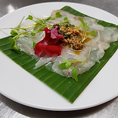 Stone Bass Ceviche, Toasted Almond Salsa