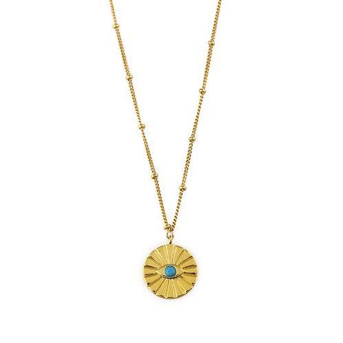 Orelia kedje Evil Eye Medallion Turquoise