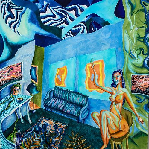 blue velvet living room.