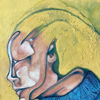 Self Portrait in Blue Turtleneck
