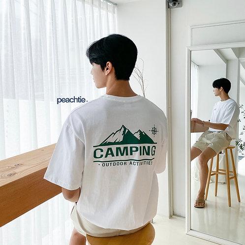 Camping Korean Shirt [White/Navy] Unisex