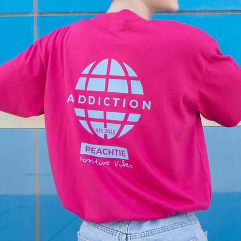 ADDICTION korean shirt (FUSHIA/BLK)