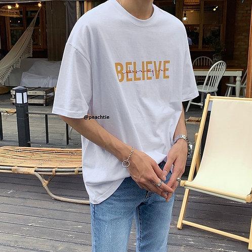 BELIEVE Korean Shirt [WHT/YLW/BLK] UNISEX