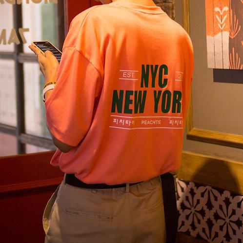 NYC korean shirt [CORAL/WHT]