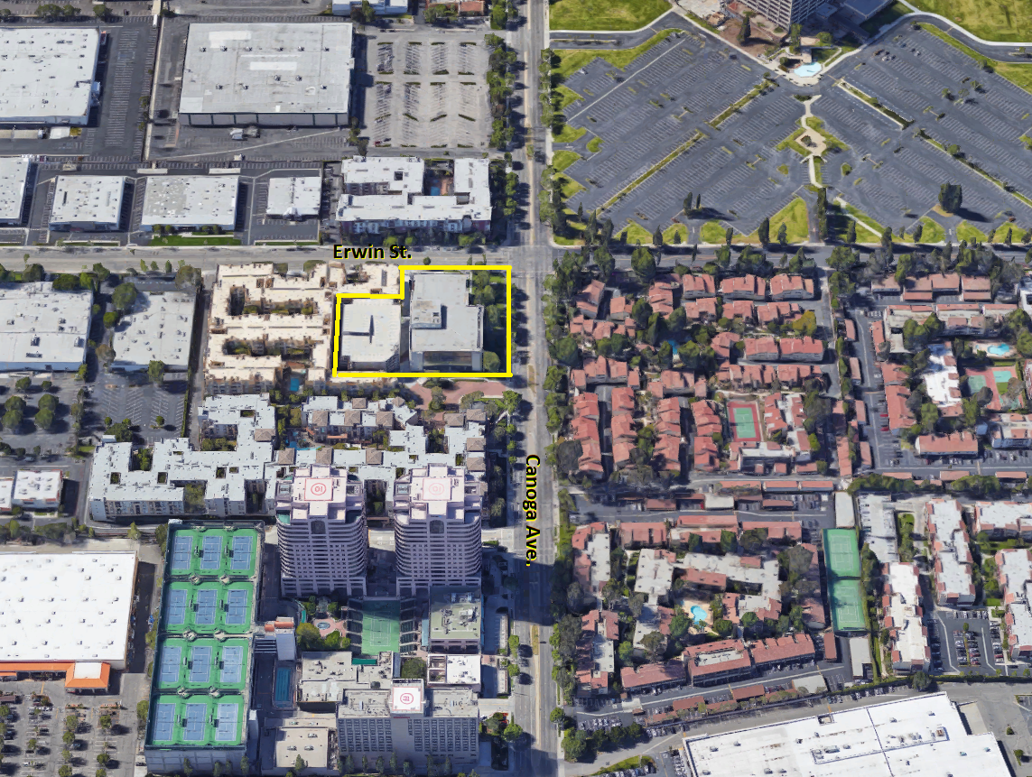 Aerial view of 6200 Canoga Ave., Woodland Hills, CA 91367