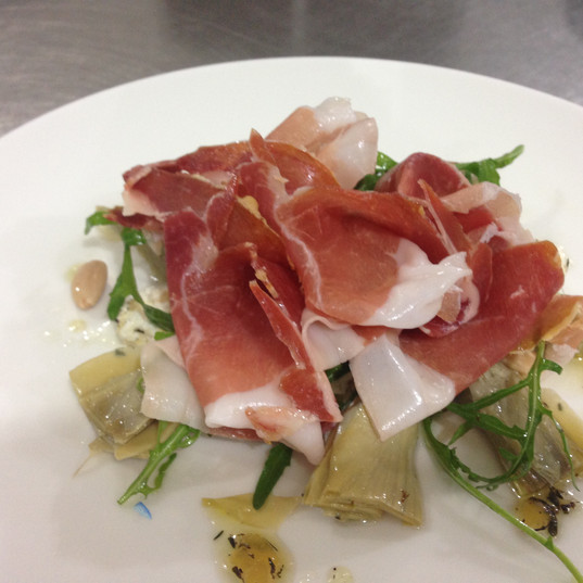 Prosciutto, Artichoke Honey Tyme Preserved Dressing