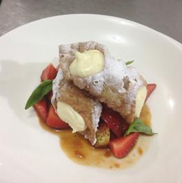 Cannoli and Roast Strawberries