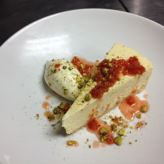 White Chocolate Cheesecake & Blood Orange Pistachio