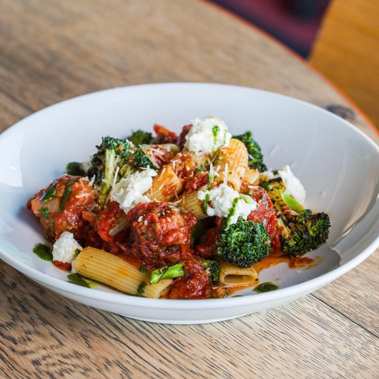 Riggatone with Chorizo & Charred Broccol