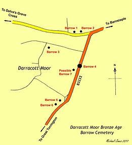 Map of Darracott Moor bronze age cemetery.