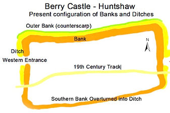 Bank and ditch plan of Berry Castle hillfort, Huntshaw.