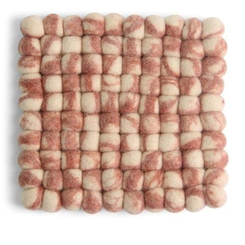 Dusty Red Square Stone Ball Trivet (MIN 4)