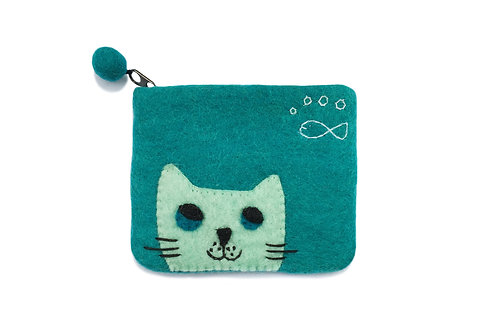 Turquoise Cat Purse