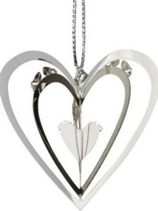 3D Silver Heart Ornament