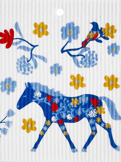 Horse & Bird Floral Wash Towel (MIN 6)