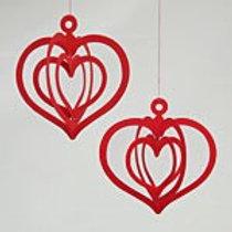 Red Triple Heart Mobile, 2/pkg