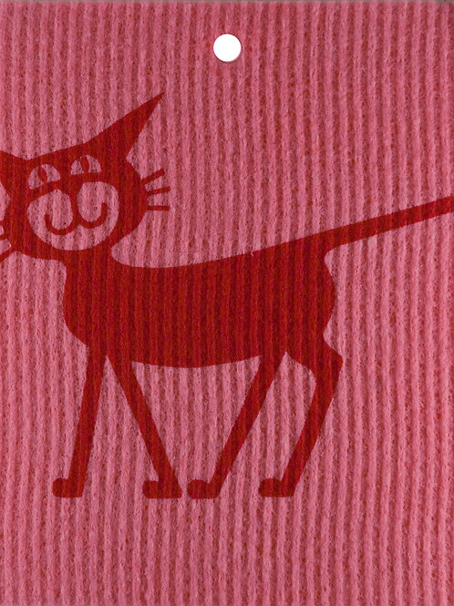 Red Cat on Pink Wash Towel (MIN 6)