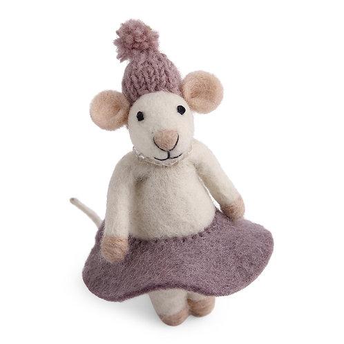 White Mouse w/Purple Dress Ornament (MIN 6)