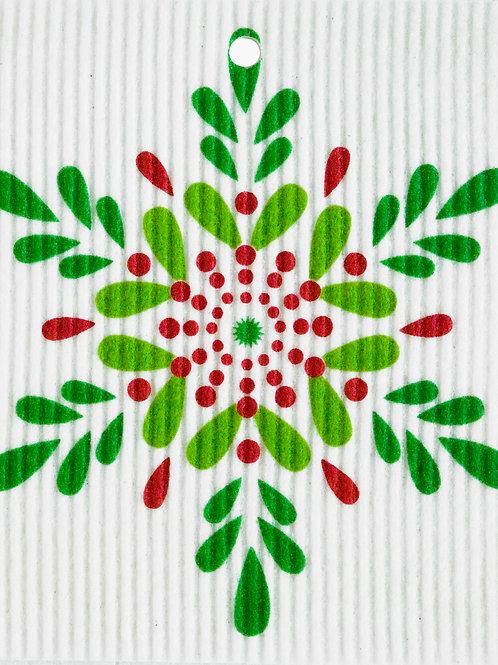 Green & Red Snowflake Wash Towel (MIN 6)
