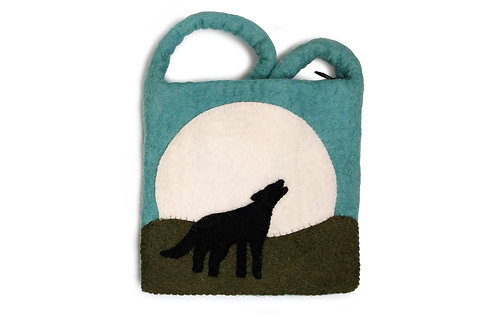 Wolf Howling at Moon Bag