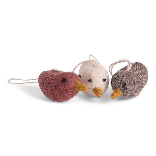 Red Mini Bird Ornaments, Set of 3 (MIN 8)