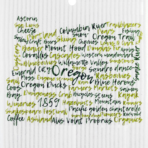 Dark Green & Light Green Oregon Words Wash Towel (MIN 6)
