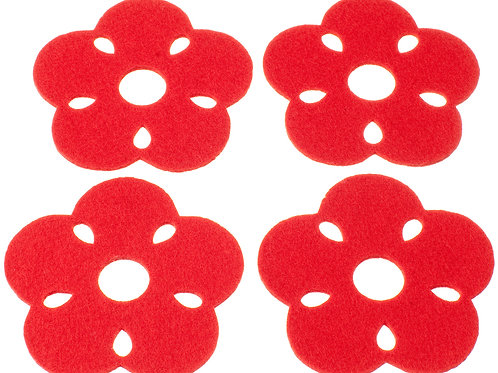 Red Kukka Coasters, Set of 4
