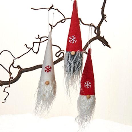 Gnome Head Ornament w/Snowflake, 3/box