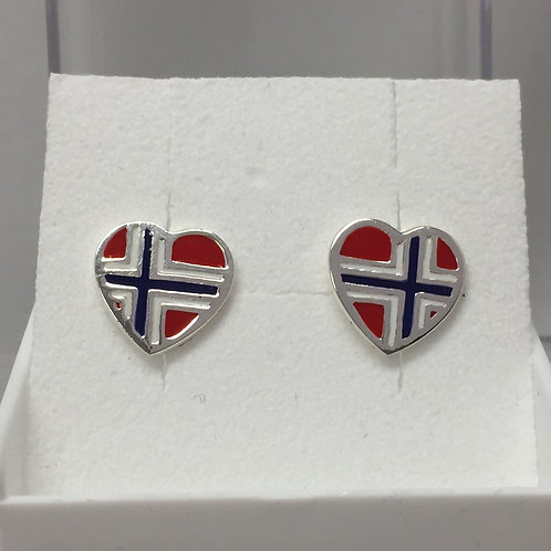 Norwegian Flag Heart Earrings on Post Back