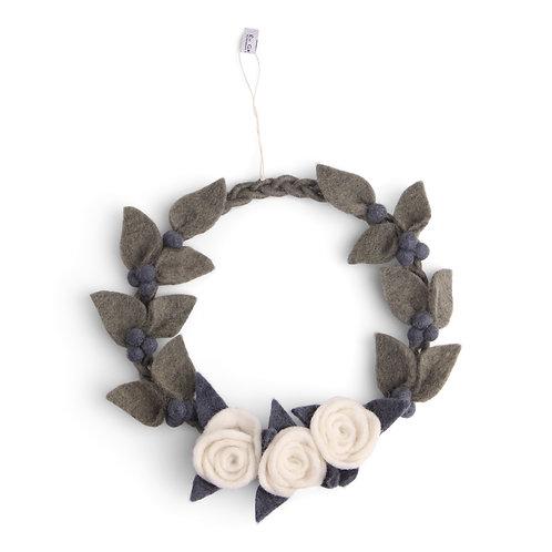 Braided Wreath w/White Roses (MIN 6)