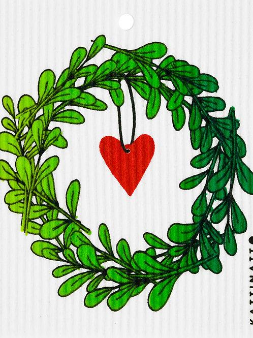 Lingonberry Wreath w/Heart Wash Towel (MIN 6)