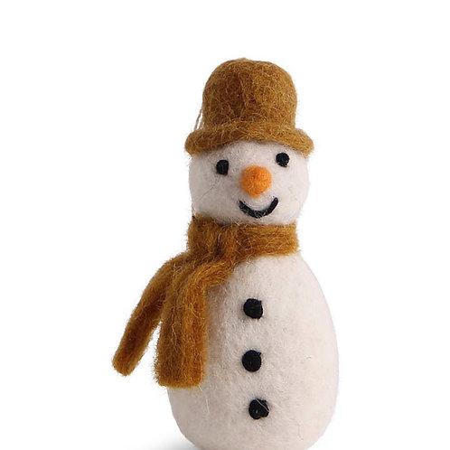 Gold Brown Snowman w/Scarf Ornament (MIN 8)