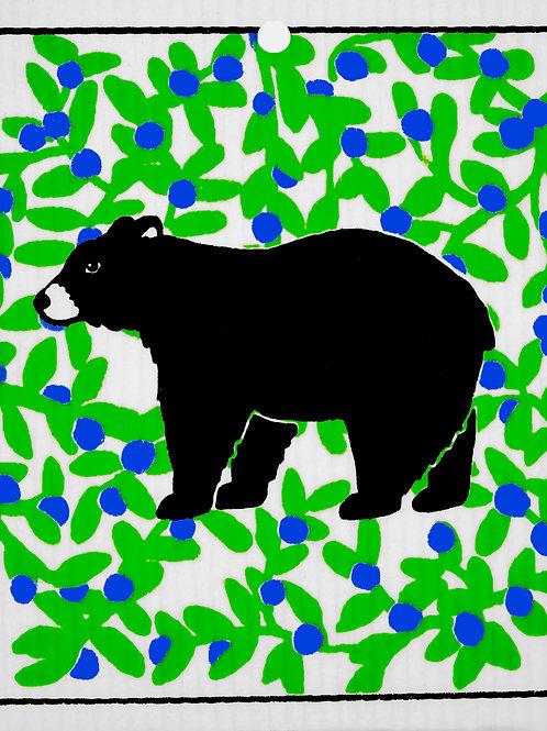 Black Bear w/Berries Wash Towel (MIN 6)