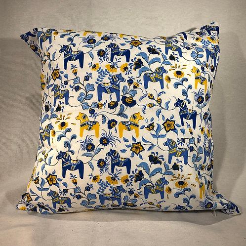 Blue Mini Dala Horse Pillow