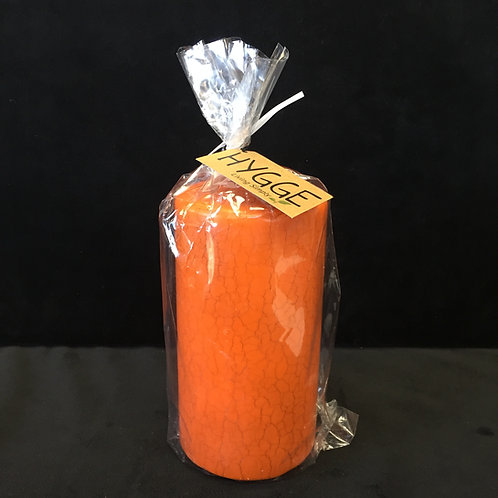 "HYGGE Carrot Orange Crackle Pillar Candle, 3"" x 5 1/2"""