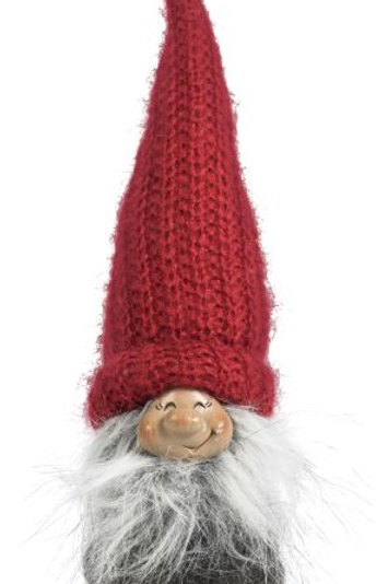 Grey Smiling Santa w/Knitted Red Hat