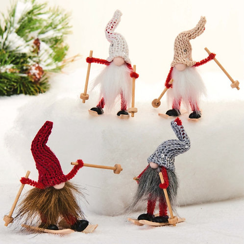Red, Grey, Cream, & White Skiing Gnome, 4 Assorted