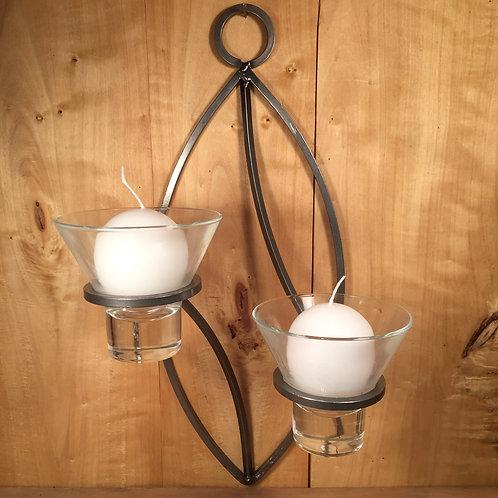 Oval Sconce w/2 Glass Cups