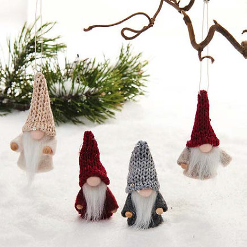 Red, Grey & Creme Gnome Ornament, 2/box