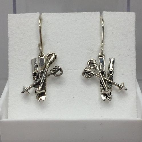 Pair of Skis Earrings on Loop Back