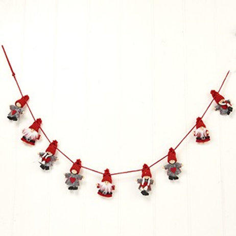 Red & Grey Pixie Gnome Garland
