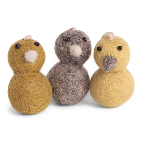 Round Yellow Mini Chicken Ornaments, Set of 3 (MIN 8)
