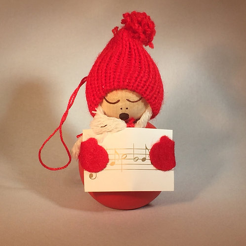 Red Girl Ornament w/Songbook