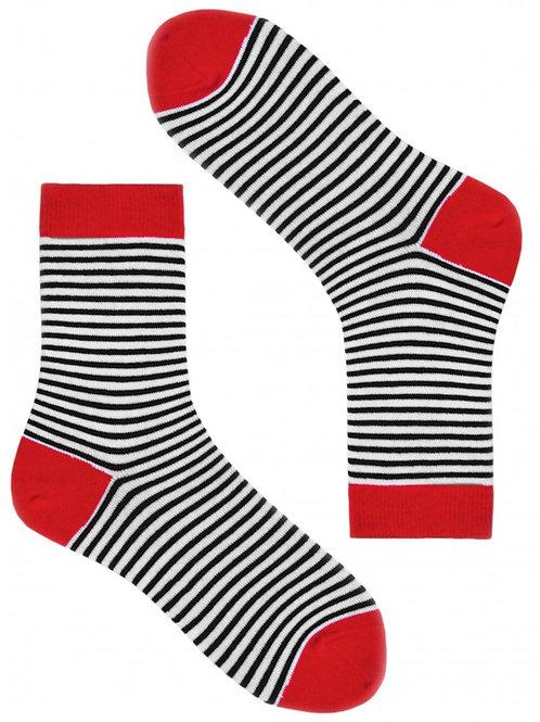 Blue & Red Thin Stripes Women's Socks
