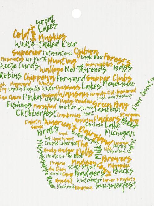 Green & Gold Wisconsin Words Wash Towel (MIN 6)