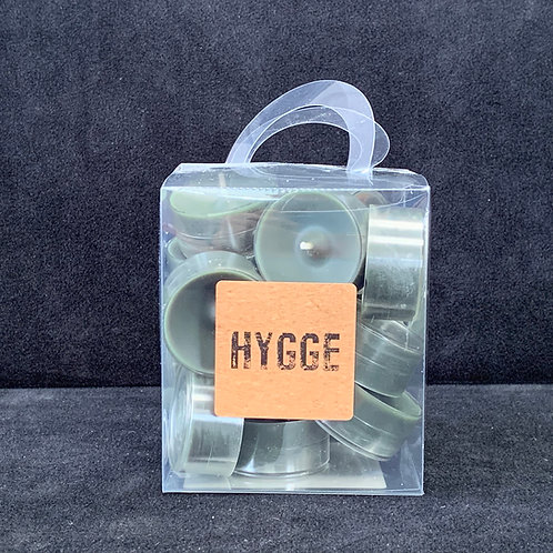 HYGGE Green Clear Cup Tealights in Box