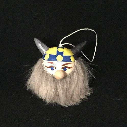 Viking Head Ornament w/Sweden Helmet