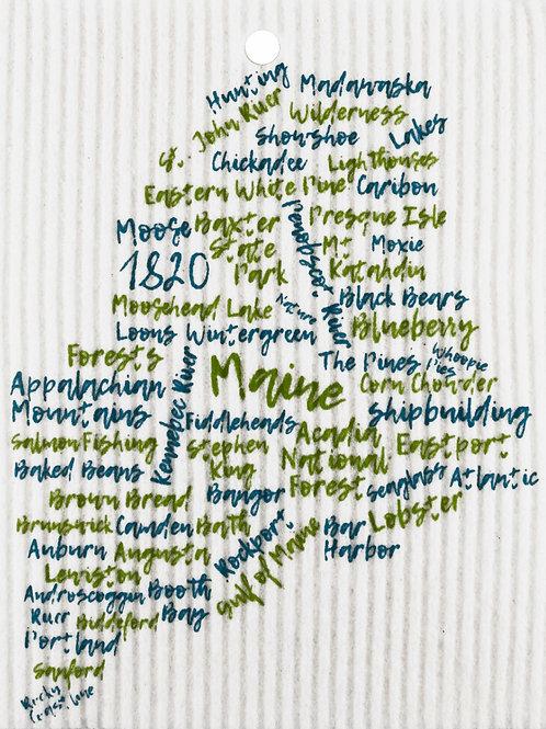 Green & Teal Maine Words Wash Towel (MIN 6)