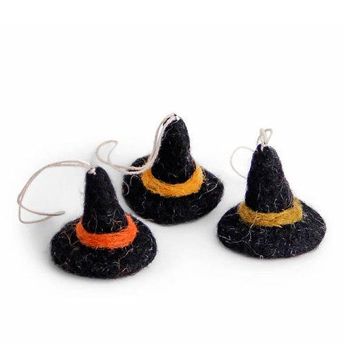 Witch Hat Ornament, Mix, Set of 3 (MIN 8)